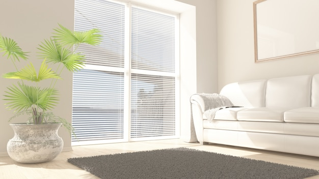 3d-hedendaagse woonkamer interieur en moderne meubels Gratis Foto