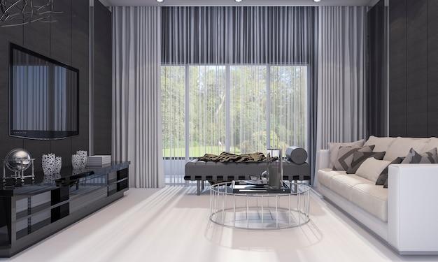 3d het teruggeven de aardige moderne woonkamer van de ontwerpluxe met grijze bank en tv-plank Premium Foto