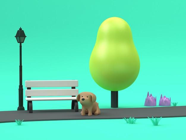 3d-hond cartoon in groene parken loopbrug laag poly boom met stoel lamp 3d-rendering groene scène Premium Foto