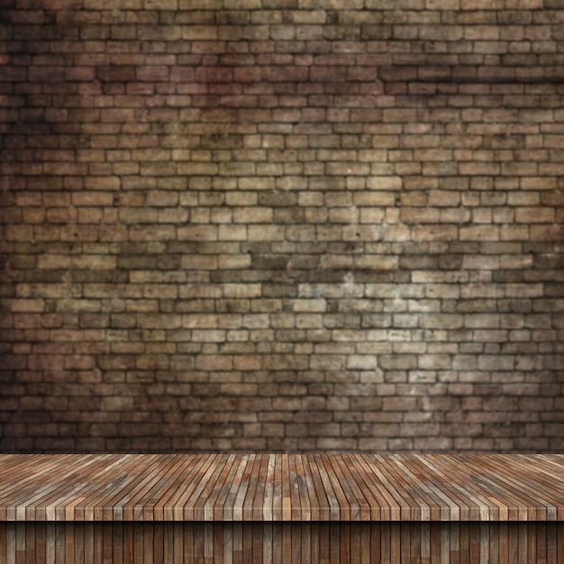 3d houten tafel en grunge bakstenen muur Gratis Foto