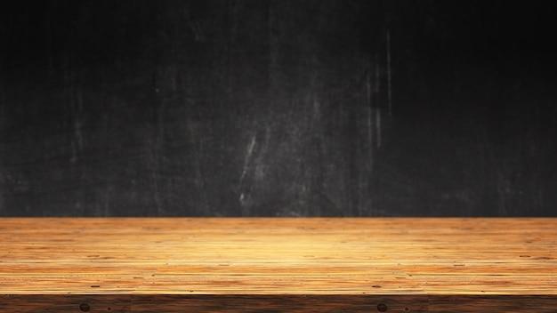 3d houten tafel tegen een defocussed grunge achtergrond Gratis Foto