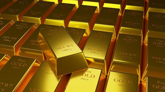 3d illustartion van goudstaven 1000 gram puur goud Premium Foto