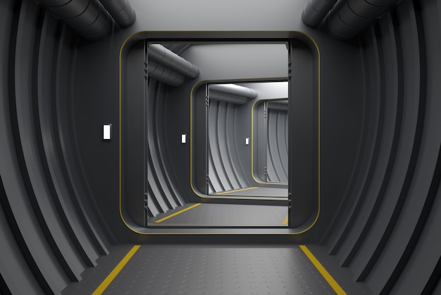 3d illustratie. achtergrond met moderne gepantserde open een poort of portaal van de reactor of laboratorium. Premium Foto