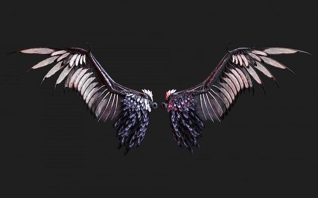 3d illustratie demon wings, black wing plumage isolated op zwarte met het knippen van weg. Premium Foto