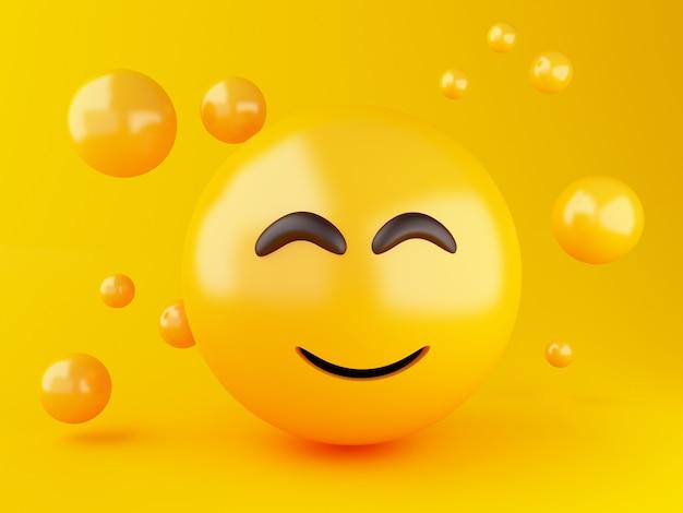 3d illustratie. emoji-pictogrammen met gezichtsuitdrukkingen. social media concept. Premium Foto
