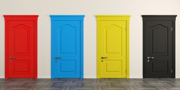 3d illustratie. helder gekleurde geschilderde klassieke deuren in de gang of de gang. Premium Foto