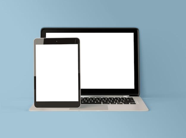 3d illustratie. laptop en digitale tablet met wit scherm. Premium Foto
