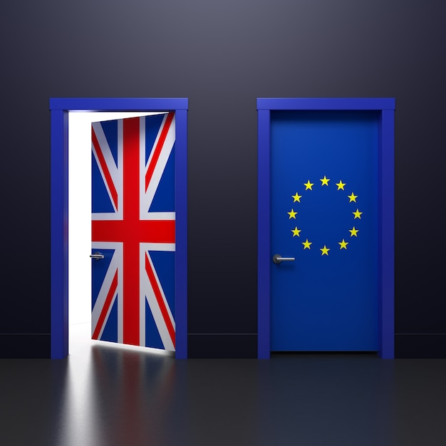 3d illustratie van de deur met de britse en eu-vlaggen van het teken in het onderwerp van het referendum over terugtrekking uit de vereniging Premium Foto