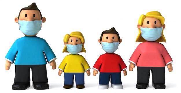 3d illustratie van een gezin met een masker Premium Foto
