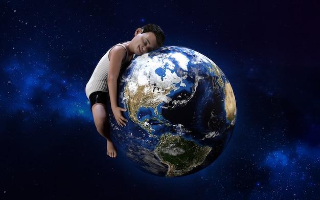 3d illustratie van een jongen die bol koestert. groene wereld, milieu, red het wereldconcept, ik hou van mijn planeet. Premium Foto