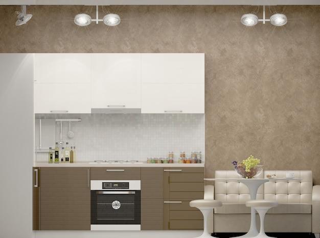 3d illustratie van een keuken in beige tonen Premium Foto