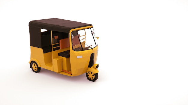 3d illustratie van een riksja-auto, een voertuig voor het vervoeren van mensen. tuk tuk auto, ontwerpelement geïsoleerd op een witte achtergrond. Premium Foto
