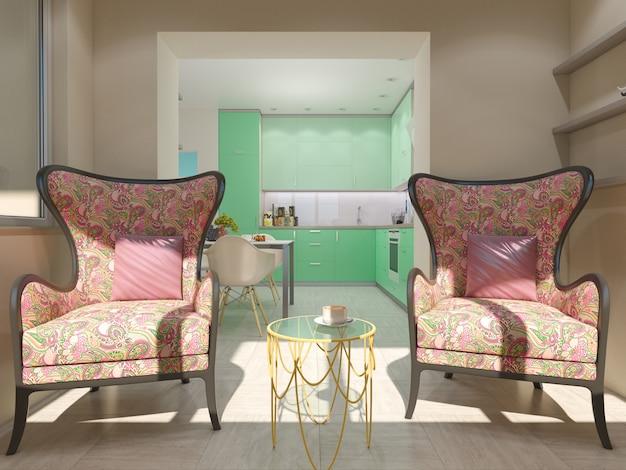 3d illustratie van kleine flats in pastelkleuren. Premium Foto