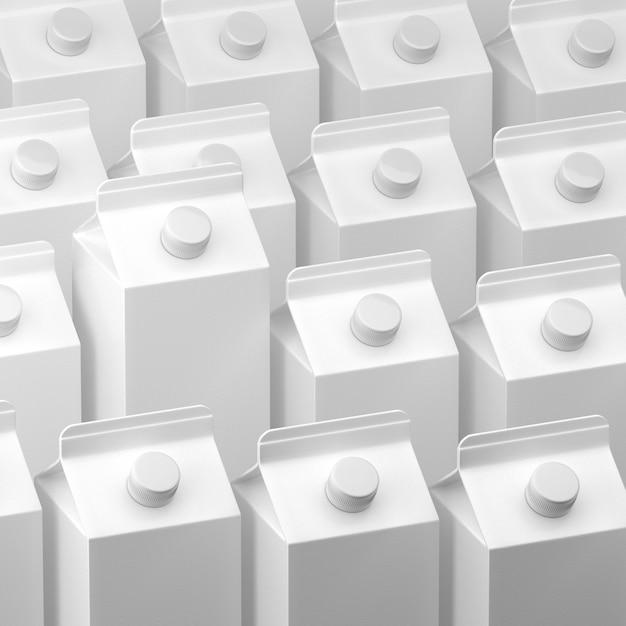 3d illustratie van melk of sappakketten Premium Foto
