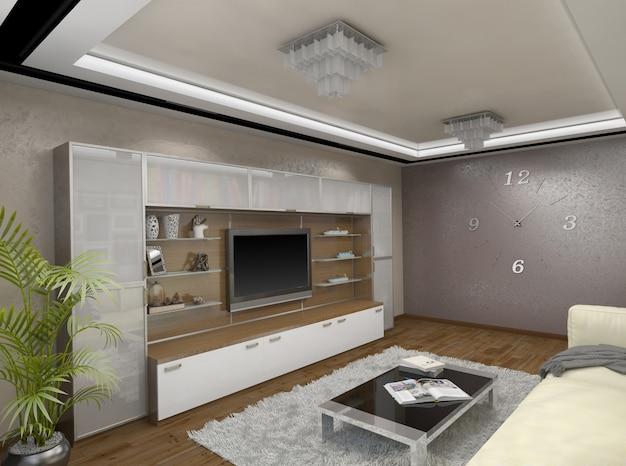 3d illustratie van ontwerp van een woonkamer in beige tonen Premium Foto