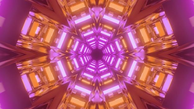 3d illustratie van samenvatting van levendige eindeloze gang met geometrische ornamenten die met purpere en oranje verlichting gloeien Premium Foto