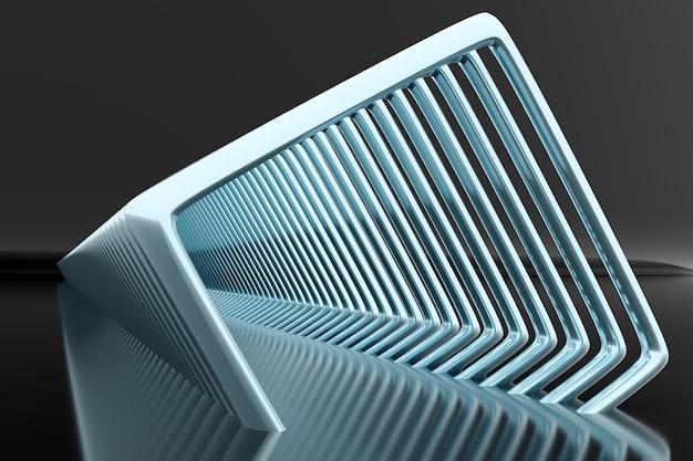 3d illustratie volumetrische blauwe vierkante lagen op een geometrische monofone achtergrond. Premium Foto