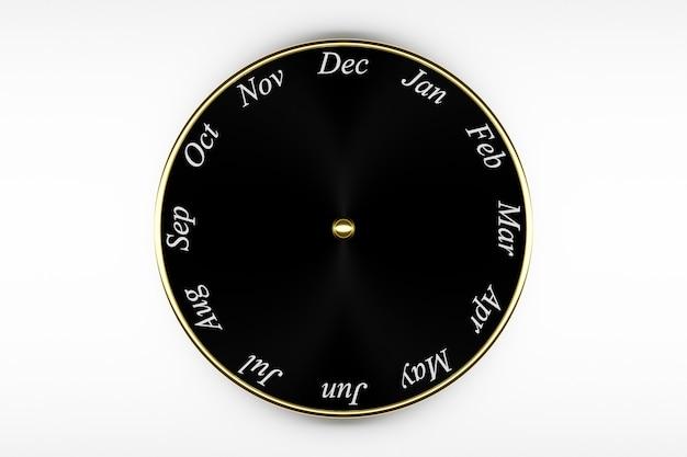 3d illustratie zwarte ronde klokkalender met 12 maanden op witte achtergrond. Premium Foto