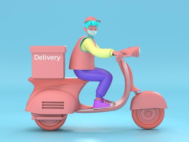 3d illustreren. snelle en gratis levering per scooter voor mobiele e-commerce concept voor foodservice. online voedselbestelling grafische webpagina, app-ontwerp, levering aan huis en op kantoor magazijn Premium Foto