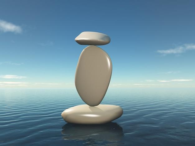 3d in evenwicht brengende zen kiezels Gratis Foto