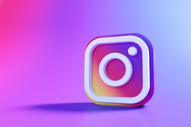 3d instagram-logo, applicatie voor sociale media. 3d-weergave Premium Foto