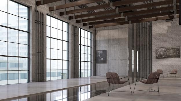 3d interieurweergave van visualisatie in de woonkamer Premium Foto