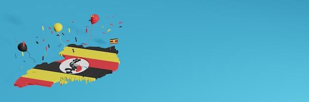 3d-kaartweergave gecombineerd met de vlag van oeganda voor sociale media en toegevoegde website-achtergrondomslag rood geel zwart ballonnen om de onafhankelijkheidsdag en nationale winkeldag te vieren Premium Foto