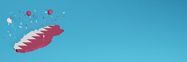 3d-kaartweergave gecombineerd met de vlag van qatar voor sociale media en toegevoegde website-achtergrondomslag rode witte ballonnen om onafhankelijkheidsdag en nationale winkeldag te vieren Premium Foto
