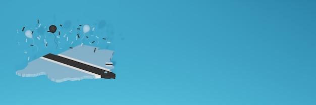 3d-kaartweergave van de vlag van botswana voor sociale media en omslagwebsite Premium Foto