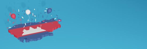 3d-kaartweergave van de vlag van cambodja voor sociale media en omslagwebsite Premium Foto