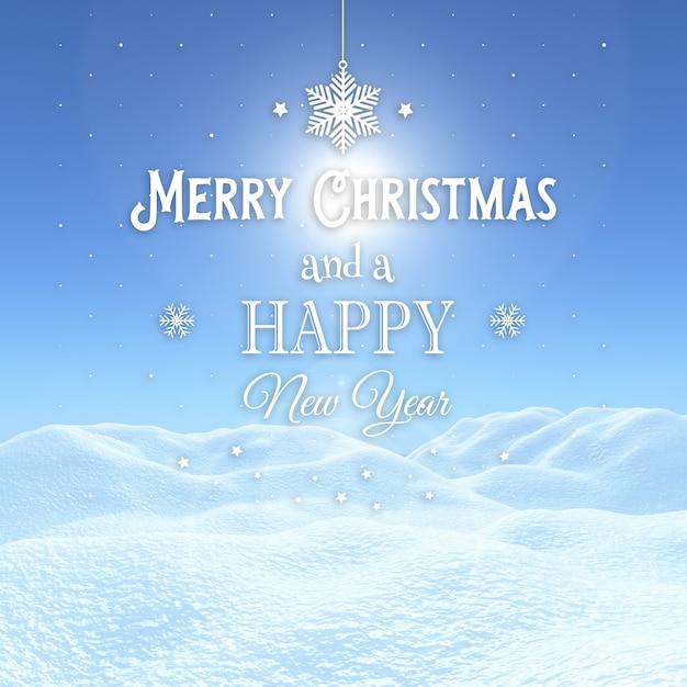 3d kerstmisachtergrond met sneeuwlandschap met decoratieve teksten Gratis Foto