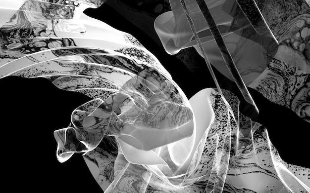 3d kunst zwart-witte achtergrond met gordijn of deken met organisch patroon op oppervlakte Premium Foto