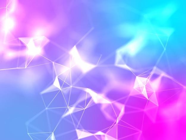 3d laag poly plexus ontwerp met felle kleuren Gratis Foto