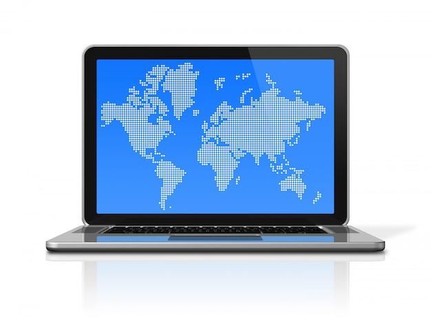 3d-laptop met wereldkaart op scherm Premium Foto