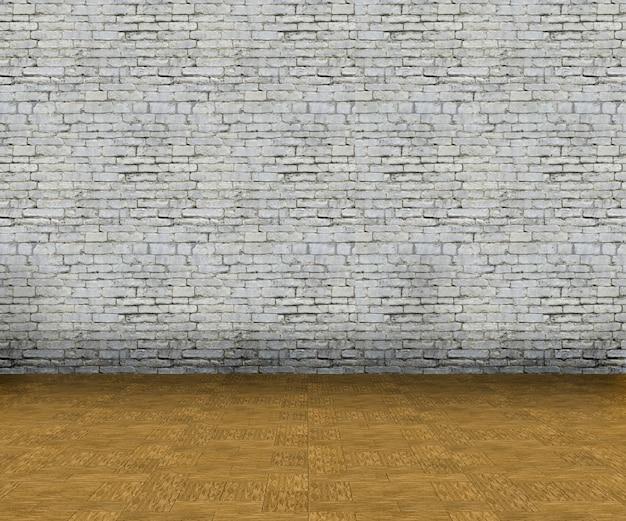 3d leeg binnenland met bakstenen muur en houten vloer Gratis Foto