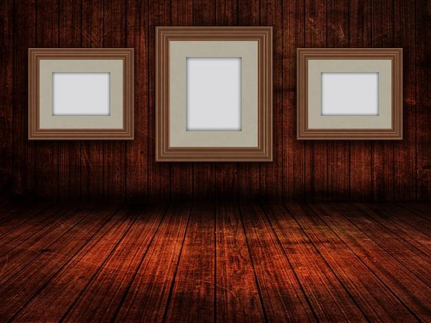 3d-lege afbeeldingsframes in een interieur van de grunge-kamer Gratis Foto