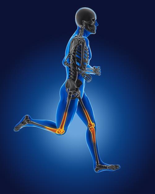 3d lopende medische man met skelet knieën gemarkeerd Gratis Foto