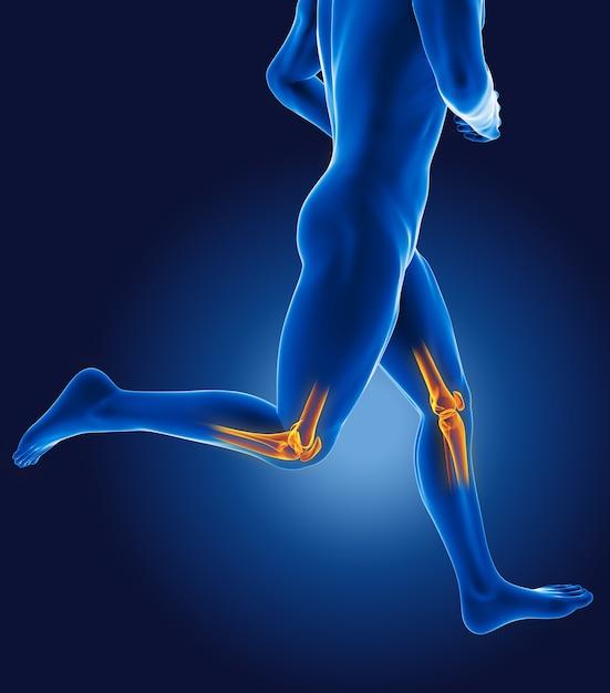 3d lopende medische man met skelet knieën gemarkeerd Premium Foto