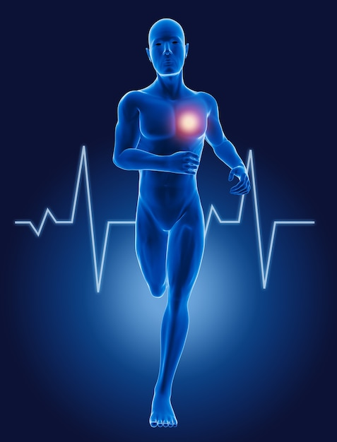 3d lopende medische mens met ecg-hartslag Gratis Foto