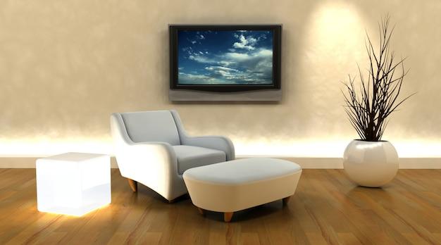 D maken van een bank en een televisie op de muur foto gratis
