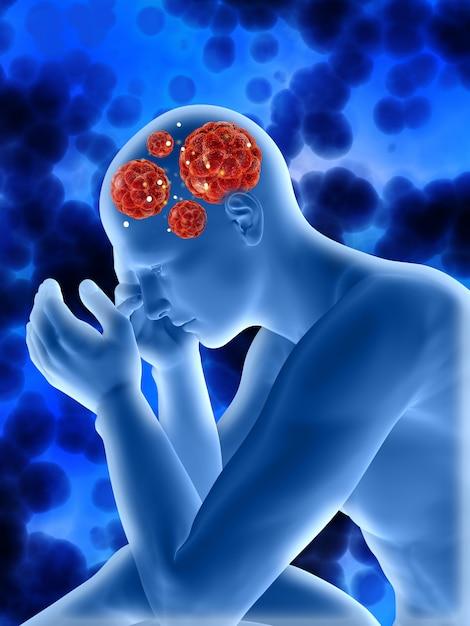 3d medische achtergrond met mannelijk cijfer dat viruscellen in hoofd toont Gratis Foto