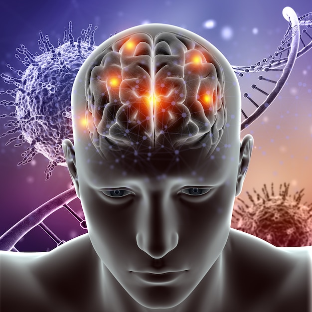 3d medische figuur met hersenen gemarkeerd op viruscellen en dna-strengen Premium Foto