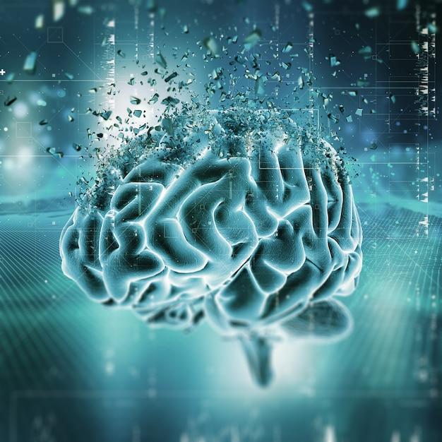 3d medische scène die hersenen het verbrijzelen toont Gratis Foto