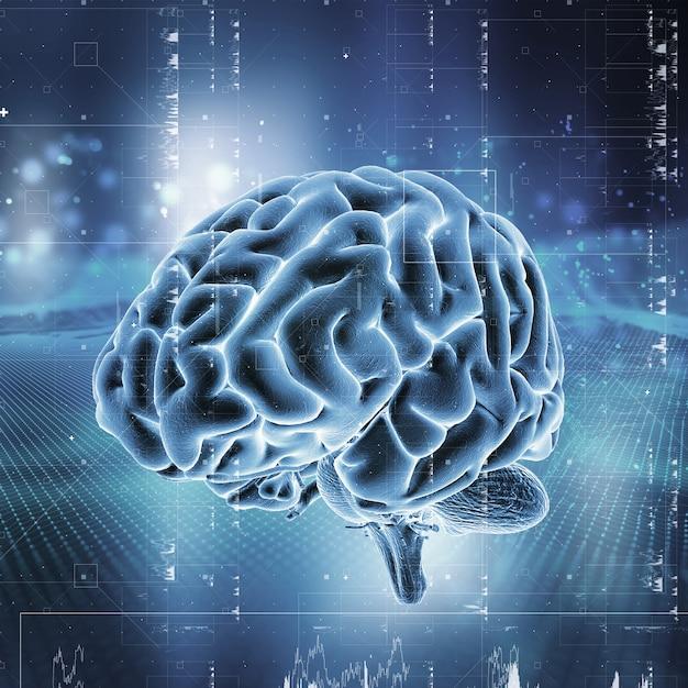 3d medische technologie achtergrond met hersenen Premium Foto