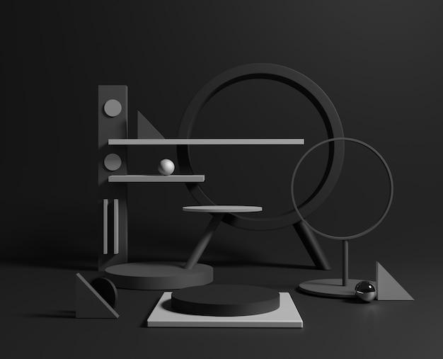 3d-minimale zwarte geometrische vormen. Premium Foto