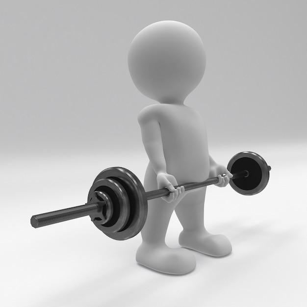 3d morph man trainen met gewichten van de sportschool Gratis Foto