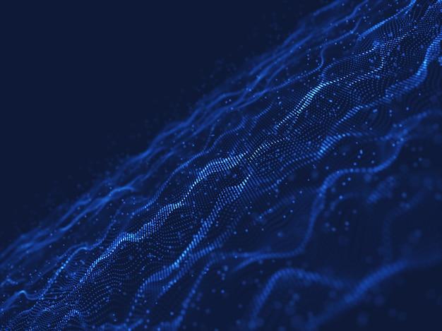 3d-netwerk communicatie achtergrond met stromende en zwevende deeltjes Gratis Foto