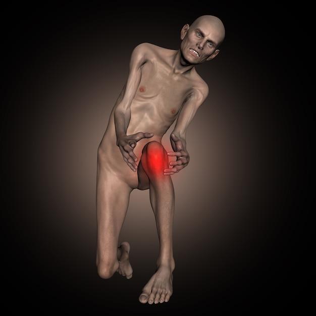 3d oude dunne man met knie in pijn Premium Foto