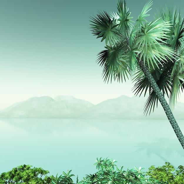 3d palmboomlandschap Gratis Foto