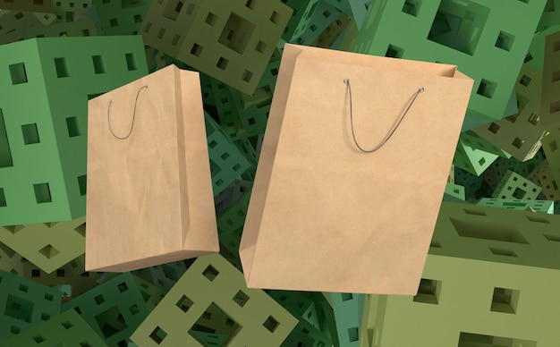 3d-papieren zakken om te winkelen en achtergrond met blokjes Gratis Foto
